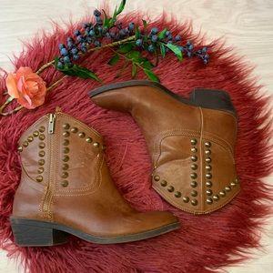 Rock & Republic brass studded boots size 6